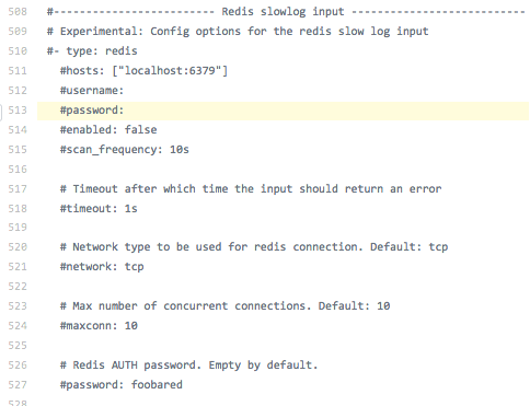 Filebeat] filebeat reference yml shows password option twice in the