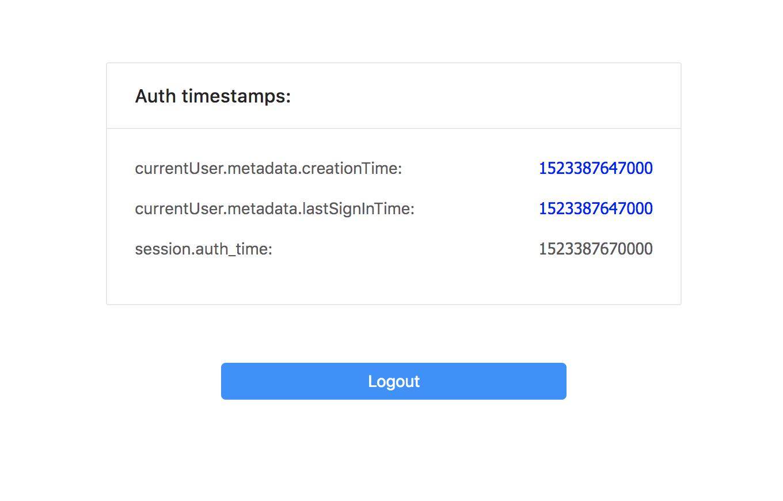 firebase auth() currentUser metadata lastSignInTime is not