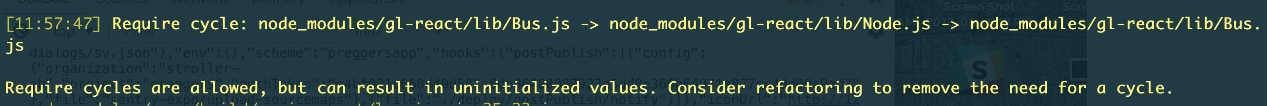 Require cycle: gl-react/lib/Bus js -> gl-react/lib/Node js -> gl