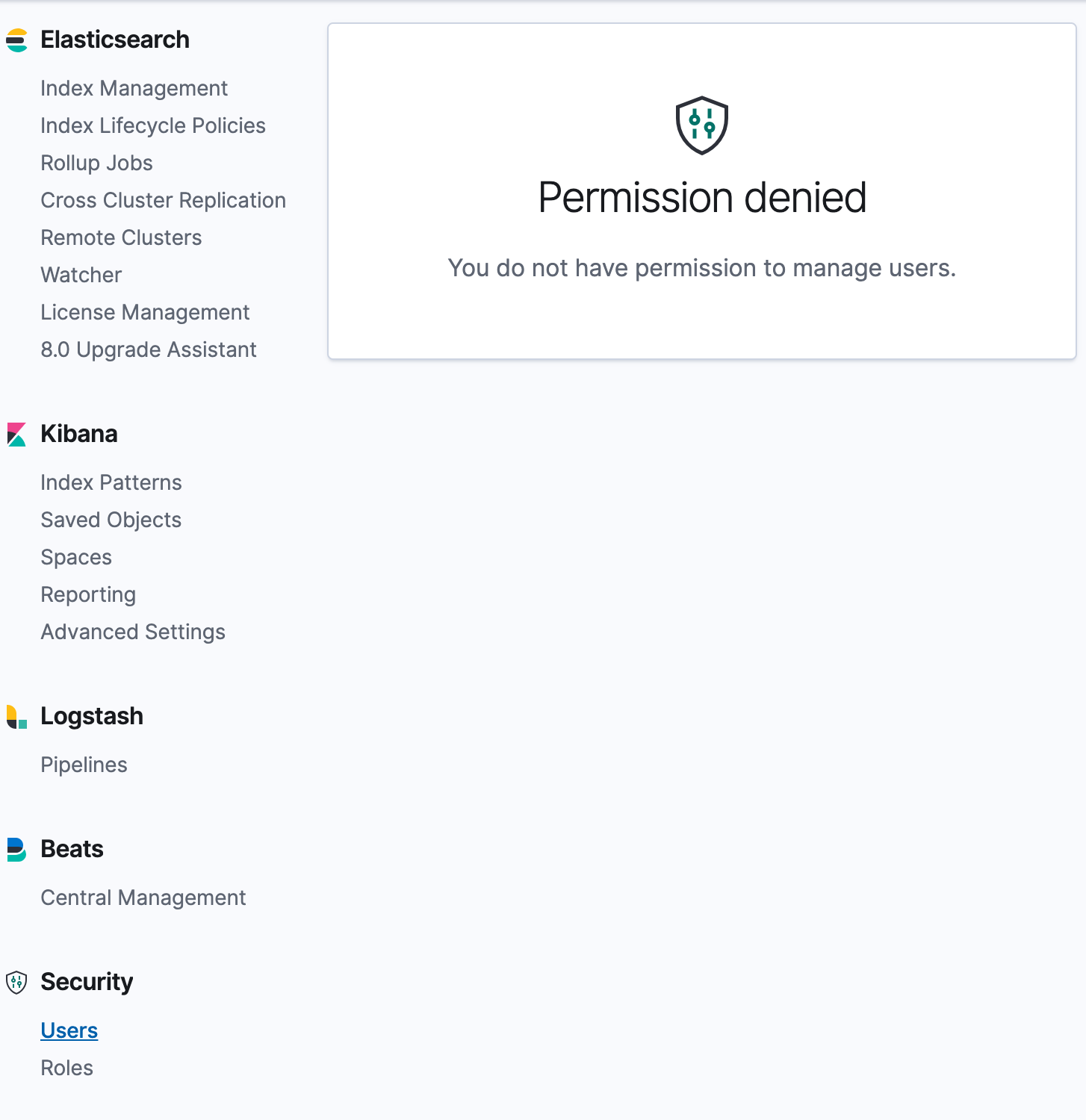 Align wrong/missing permissions messages on Management UI
