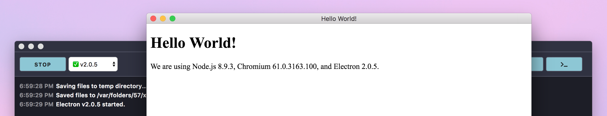 Screenshot: Electron App running