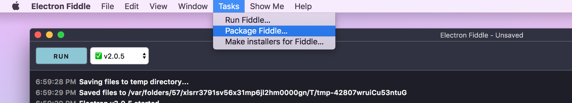 Screenshot: Fiddle's Tasks Menu
