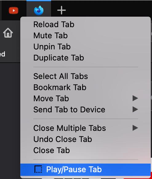 Context menu displaying the 'Play/Pause Tab' option.