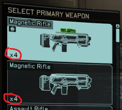 loadout displays an upgraded mag rifle x4 and a regular mag rifle x4