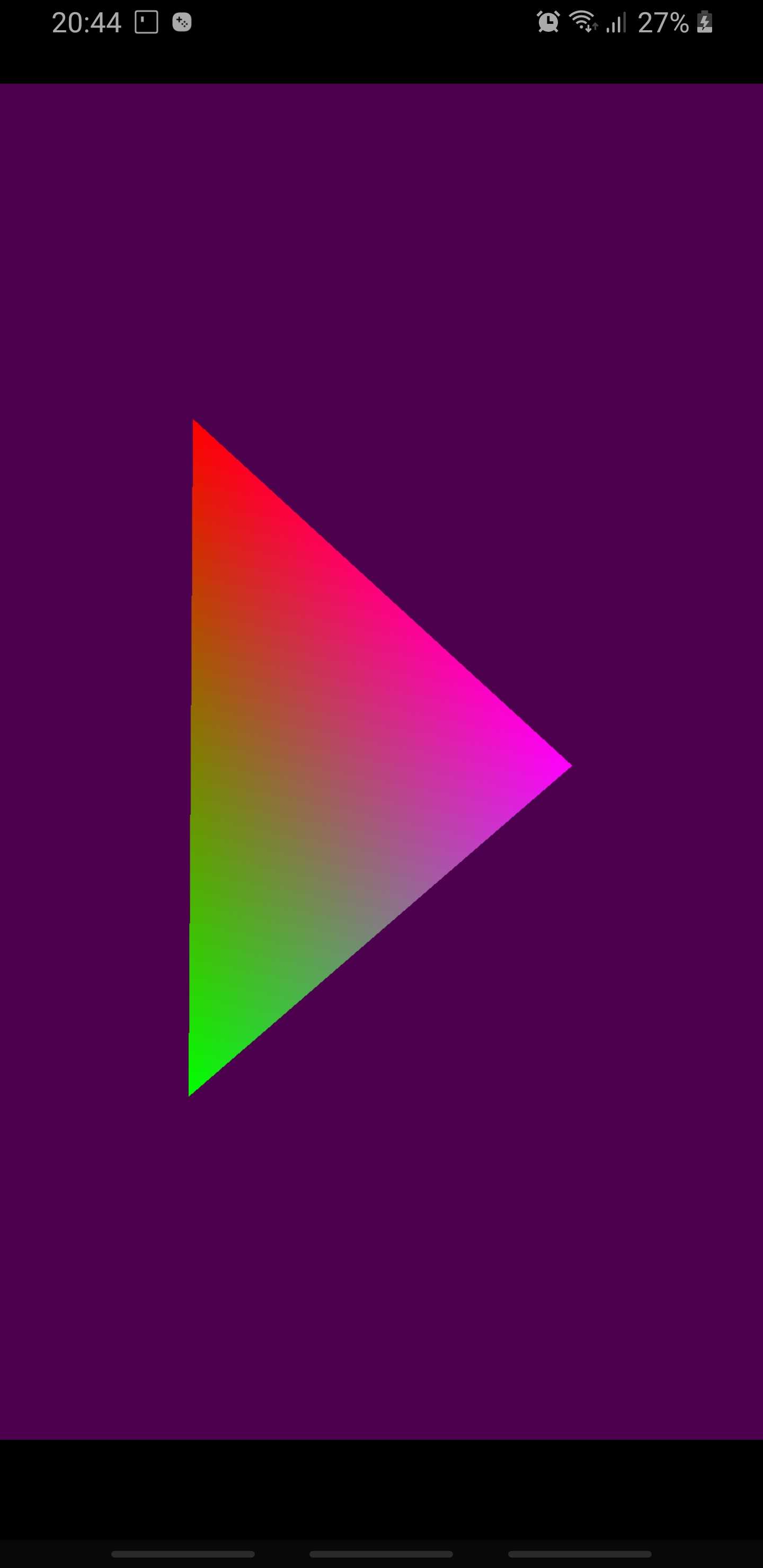 OpenGL ES 3 multicolour triangle rendered from Lua