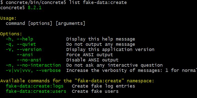 CLI interface of fake data plugin