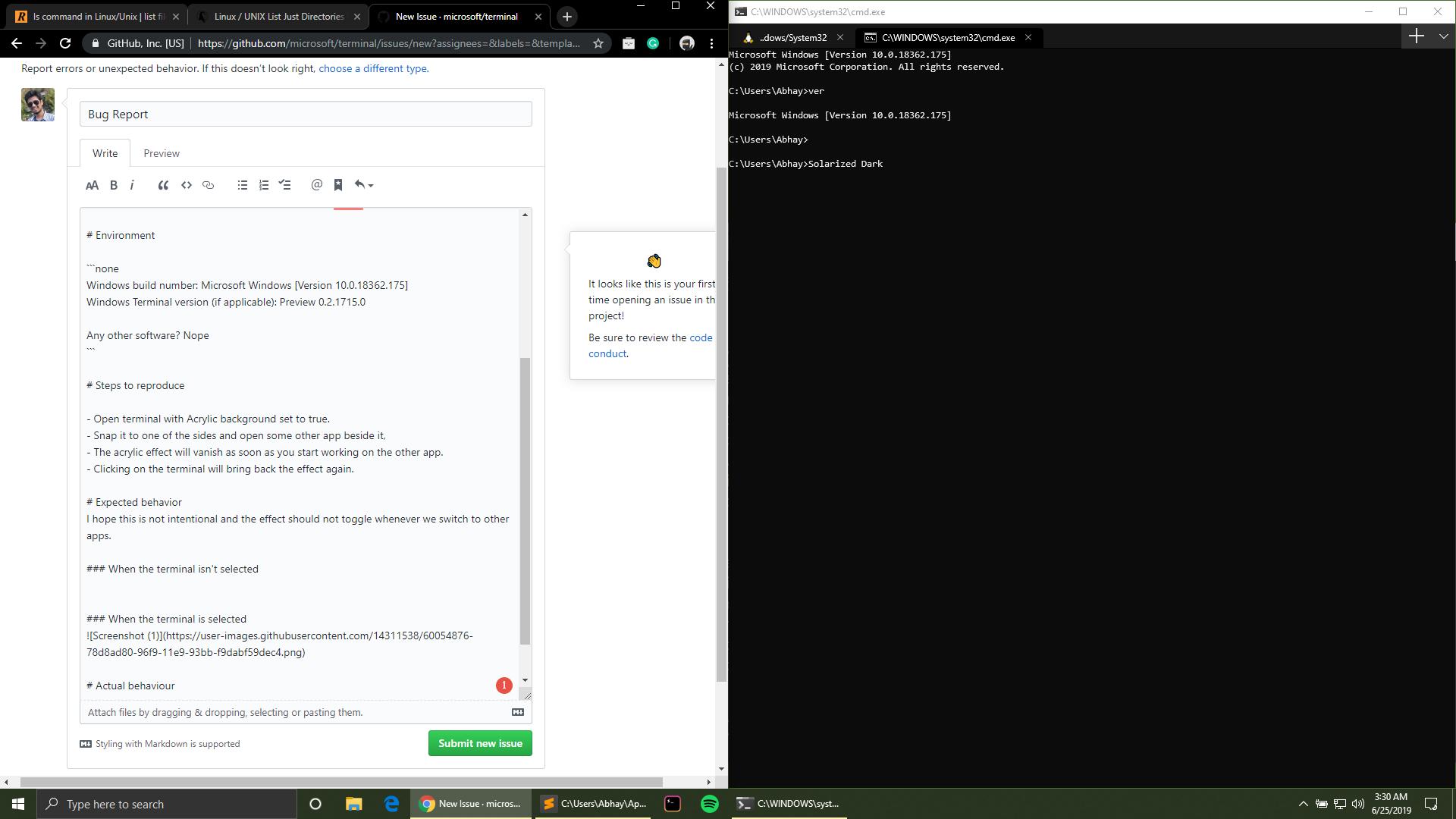 Bug Report · Issue #1566 · microsoft/terminal · GitHub