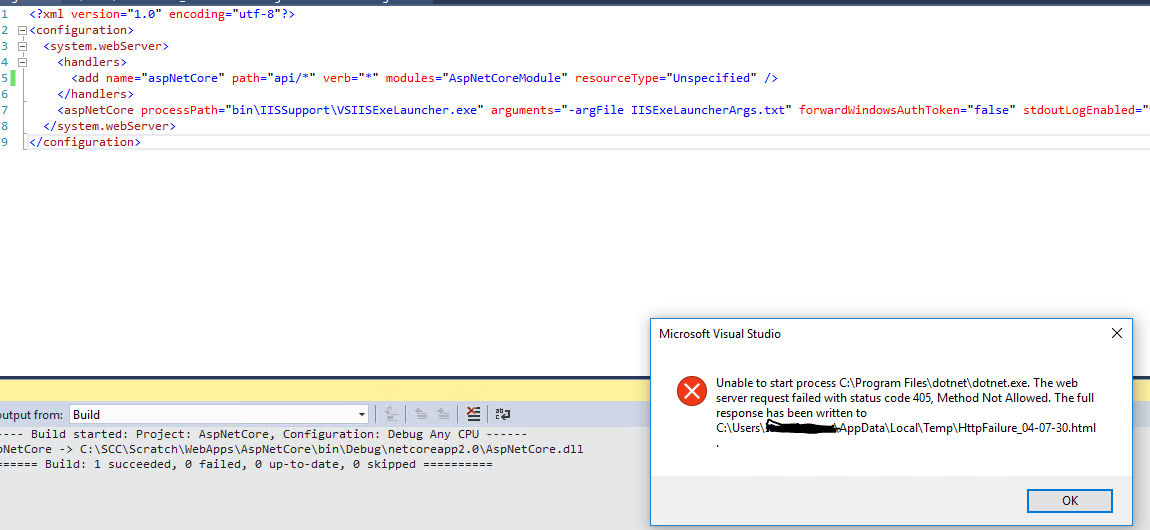 Configure AspNetCoreModule to Only Capture Requests Behind a