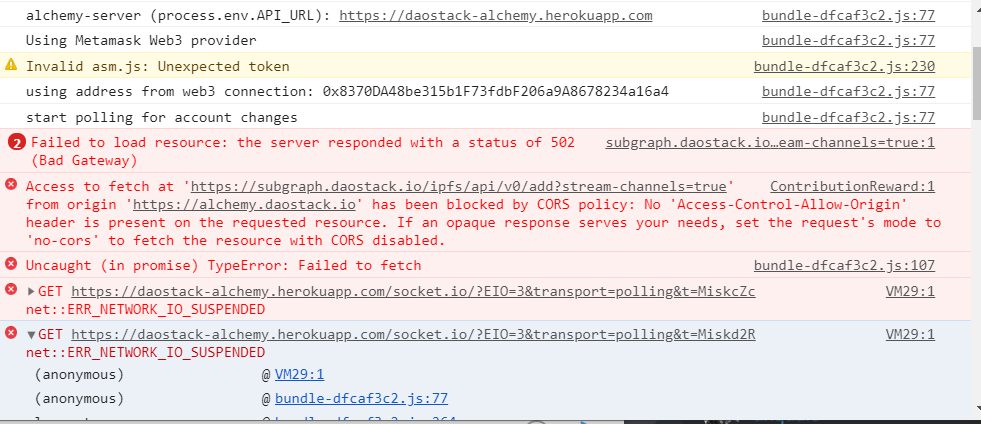 Can't submit a proposal fails with a 502 bad gateway · Issue