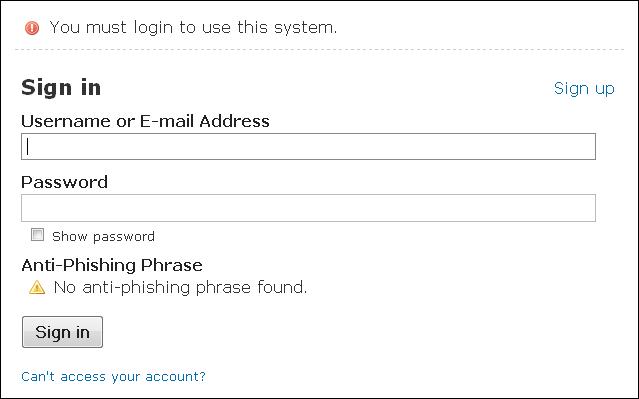 Example SSO server login screen