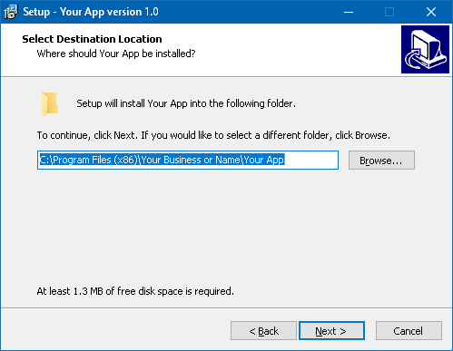 Screenshot of a generated installer on Windows