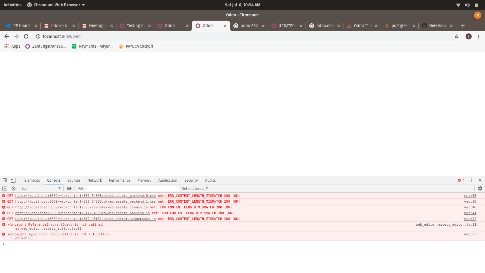Odoo 12 blank page after login ERR_CONTENT_LENGTH_MISMATCH