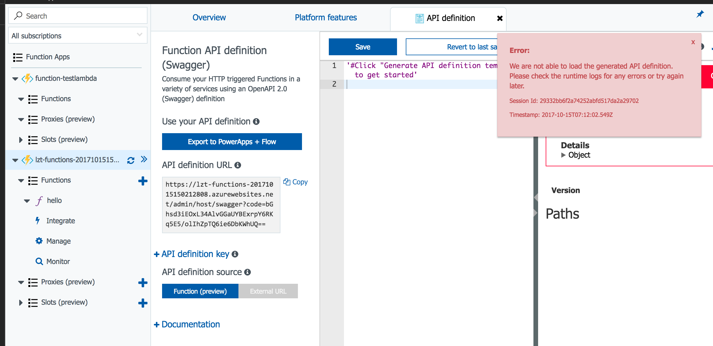 Unable to generate api definition template of azure function 2017 10 15 16 12 04 maxwellsz