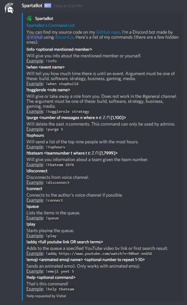 Screenshot of !help