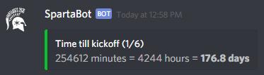 Screenshot of !when kickoff
