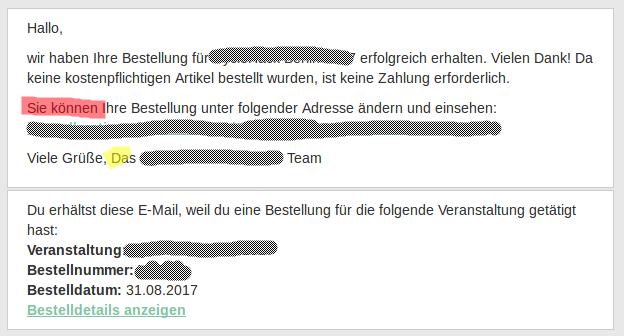 Formal German in order email · Issue #615 · pretix/pretix