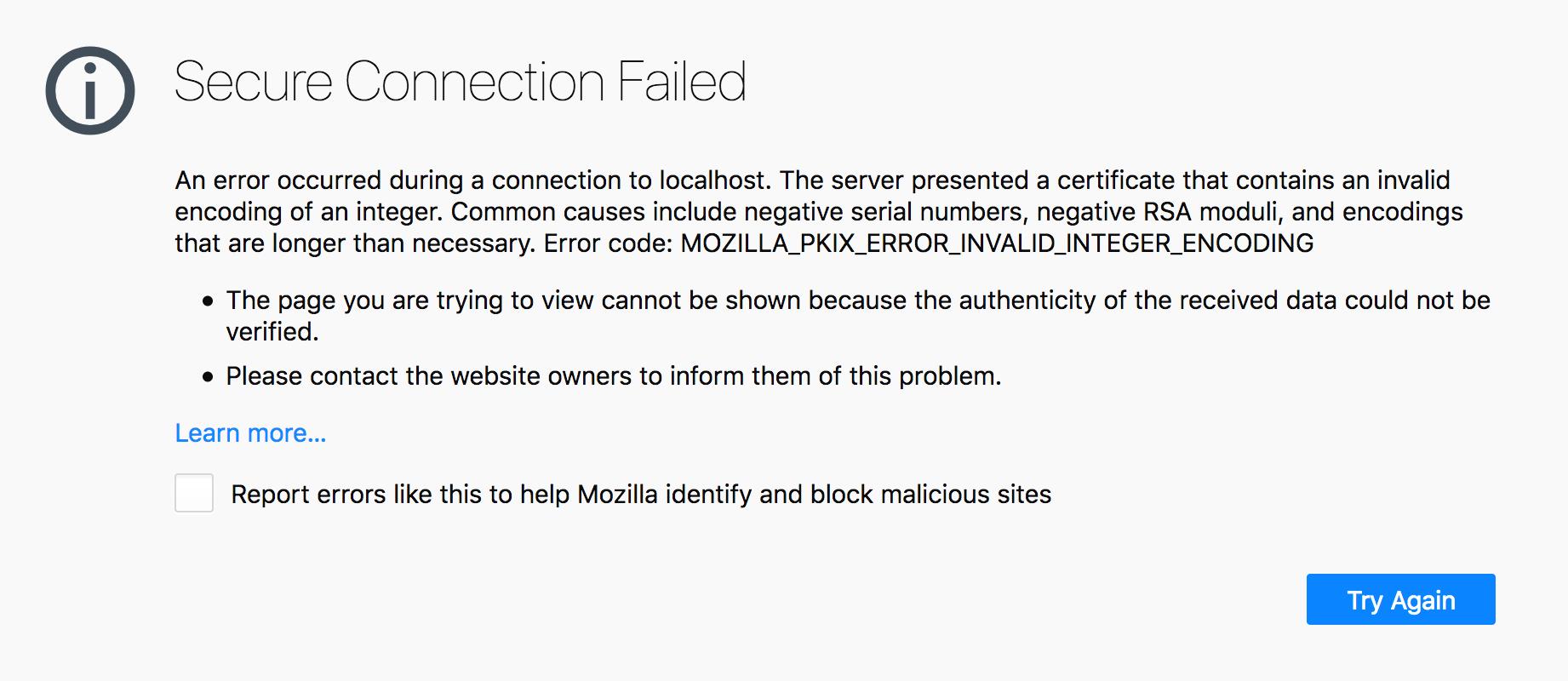 SSL error in Firefox: invalid encoding of an integer · Issue
