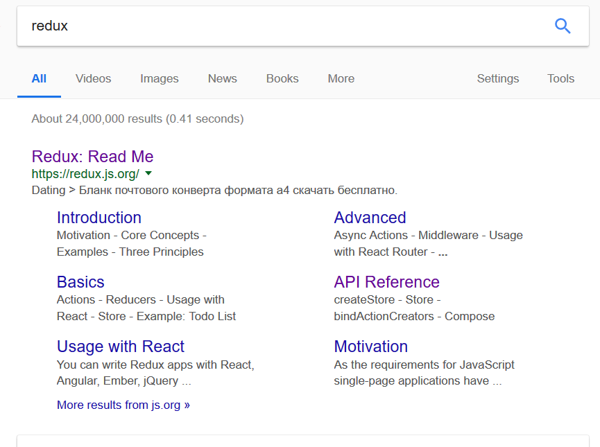 https://redux js org/ description indexed by Google seems