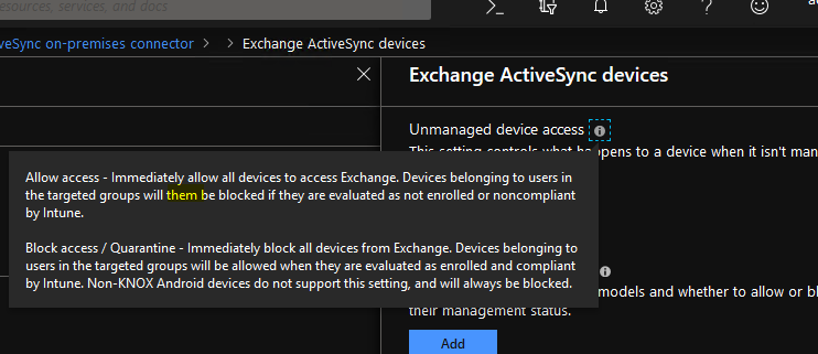 Configure Exchange on-premises access actions in incorrect