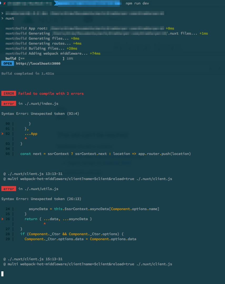 Babel? Error in  / nuxt/index js Syntax Error: Unexpected