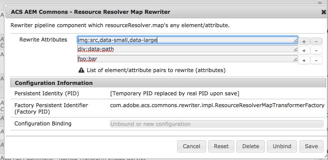 Resource Resolver Map rewriter should accept osgi confg