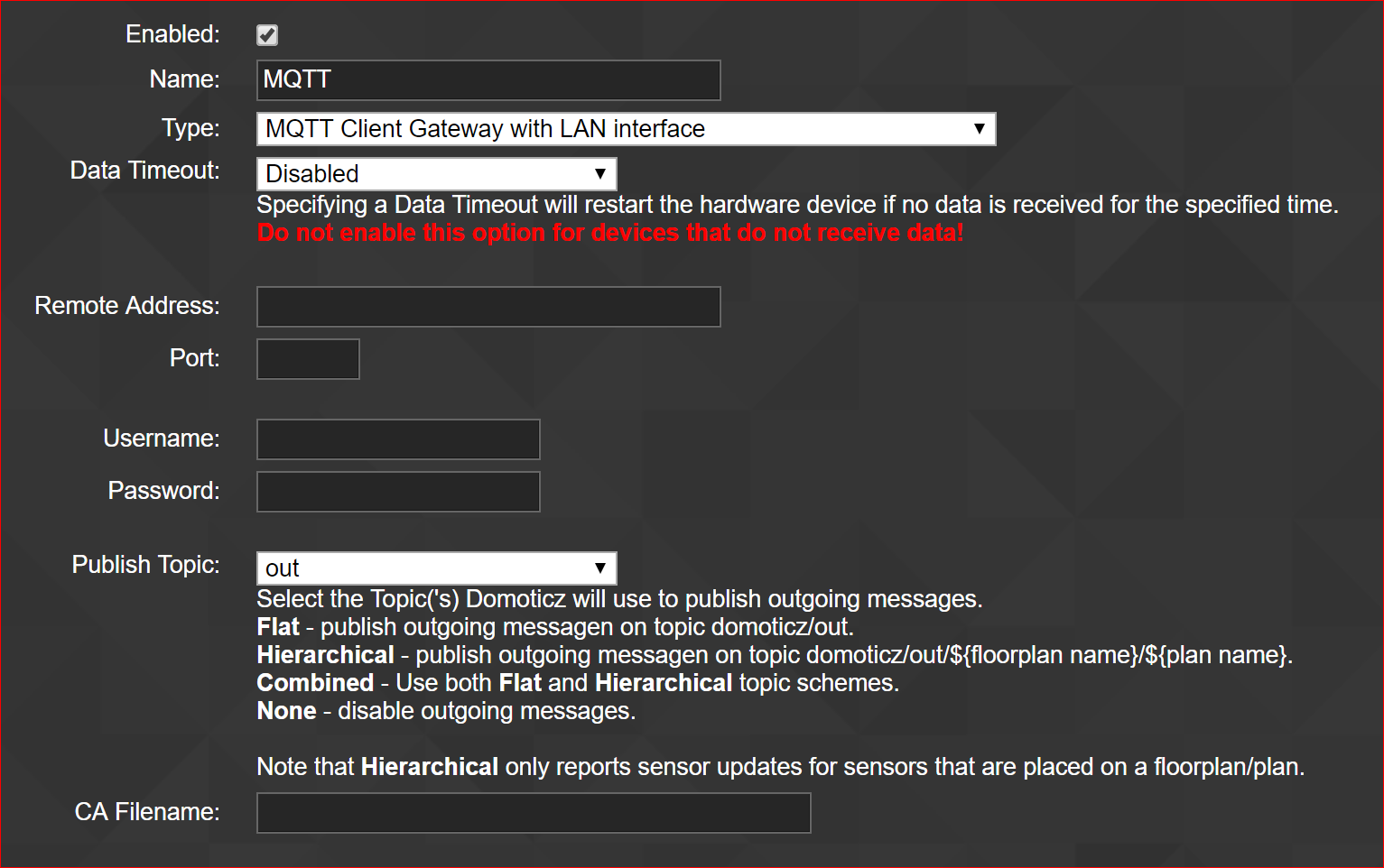 Hardware - MQTT Client gateway with LAN interface does not support