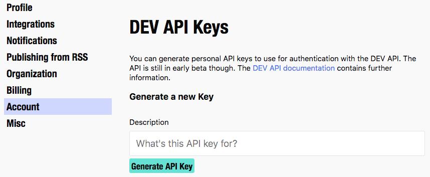 obtain a DEV API Key