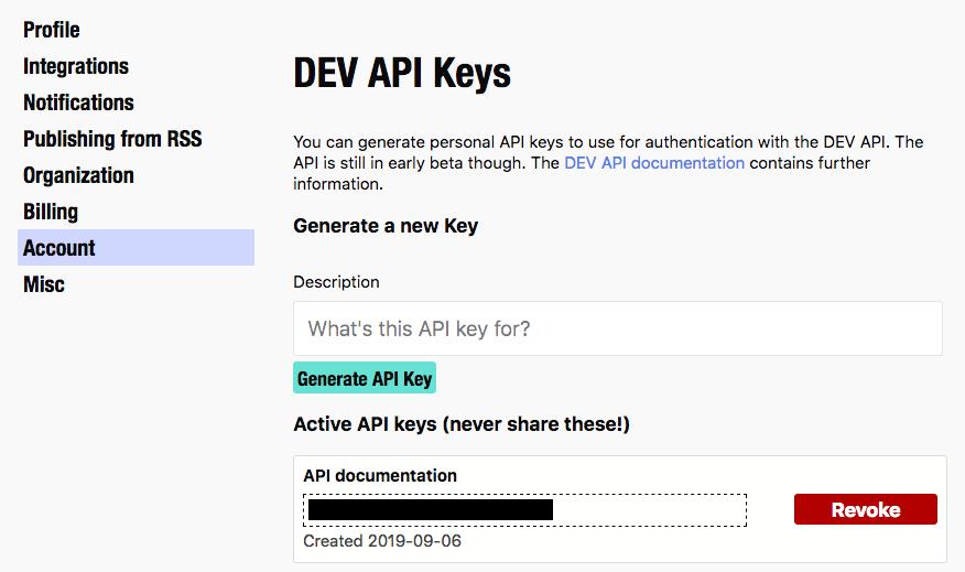 generated DEV API Key