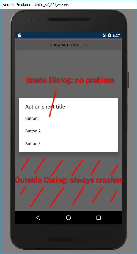 DisplayActionSheetBehavior crashes when click at outside of dialog