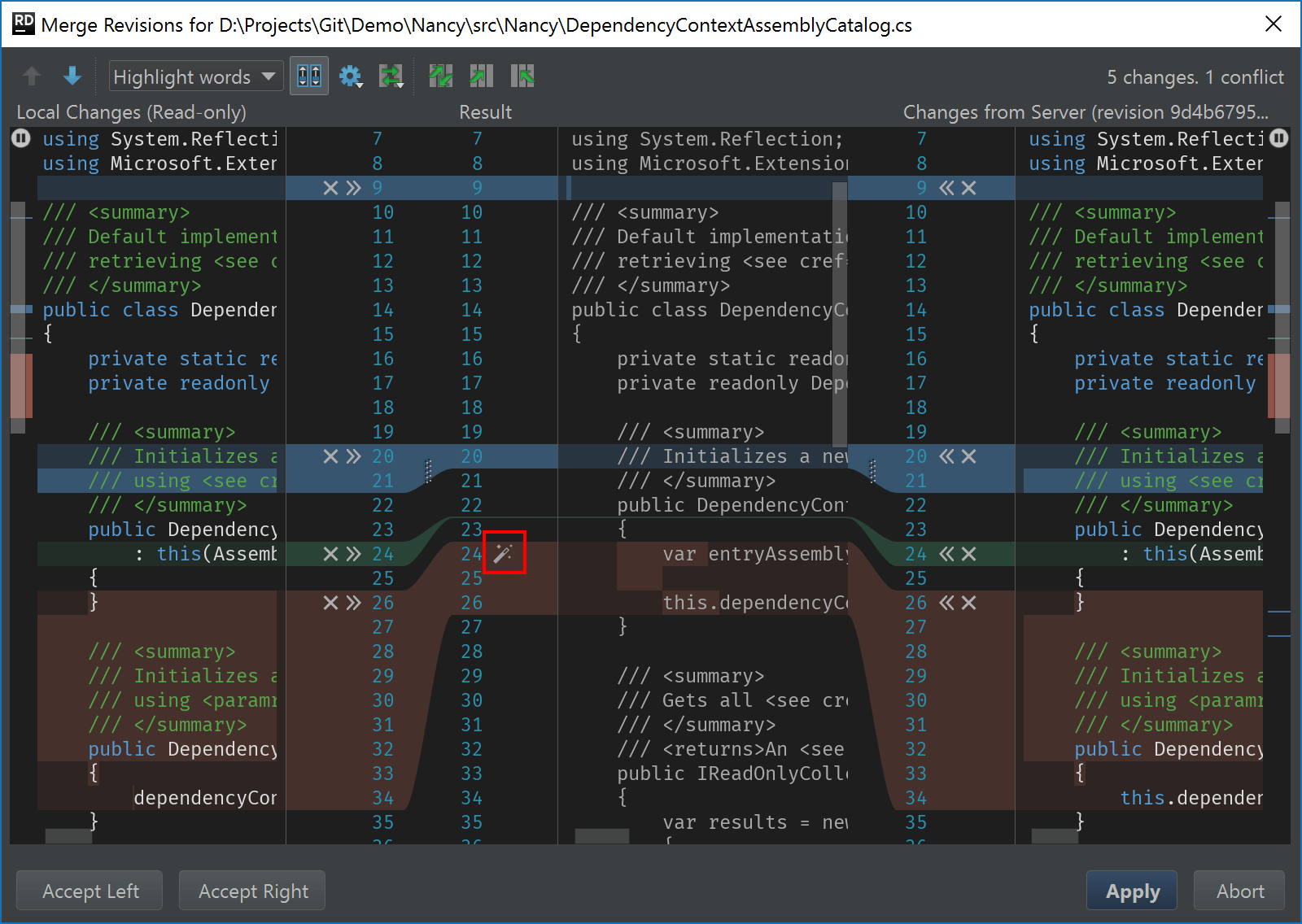 Support Git conflict resolution tool similar to IntelliJ