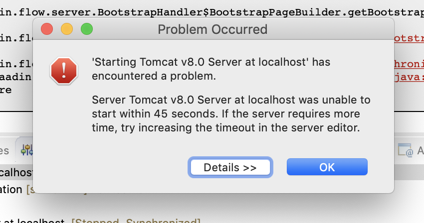 Application fails to deploy from Eclipse due to a timeout