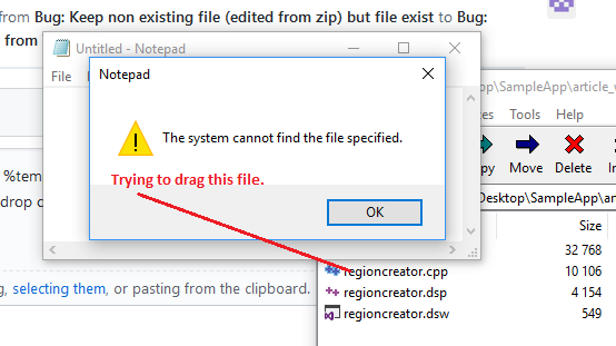 Bug: Keep non existing file (edited from 7zip) but file exist