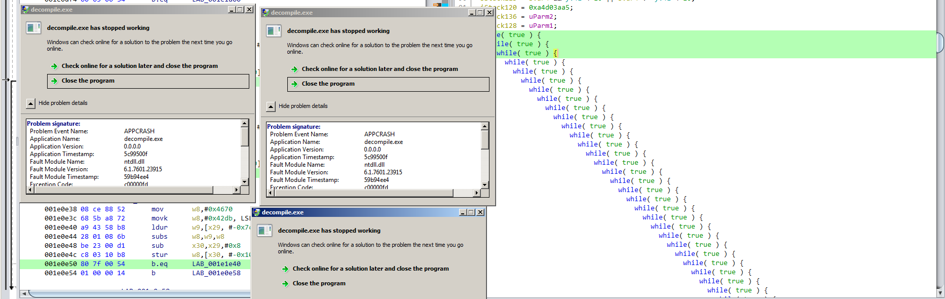Ghidra decompiler crashes on OLLVM obfuscated samples