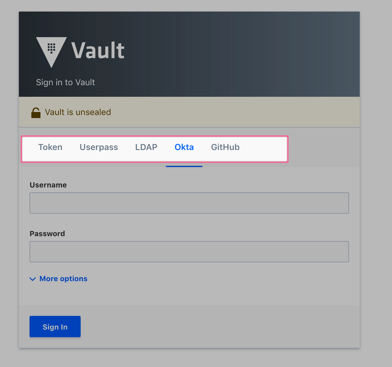 Vault UI Feature Request: Don't Show all login methods in