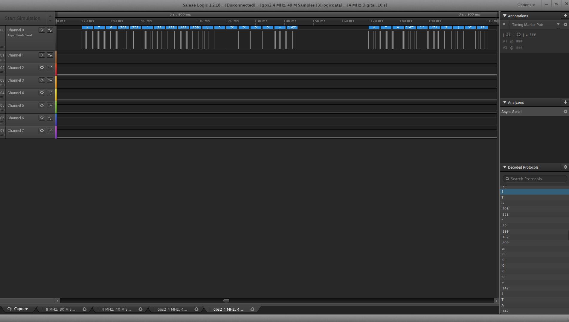 logic analyser screenshot - G and A frames