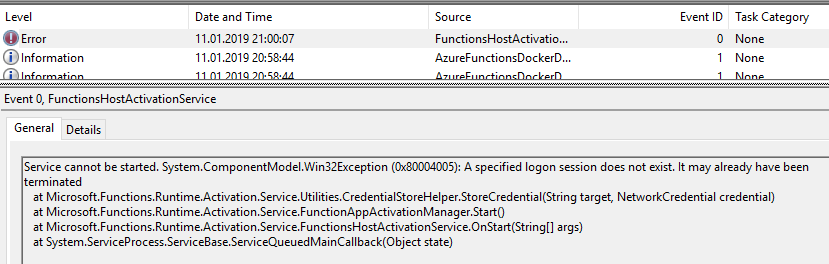 Azure Functions Host Activation Service not starting on Win10