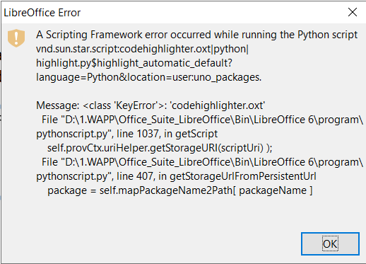 A Scripting Framework error occurred while executing the