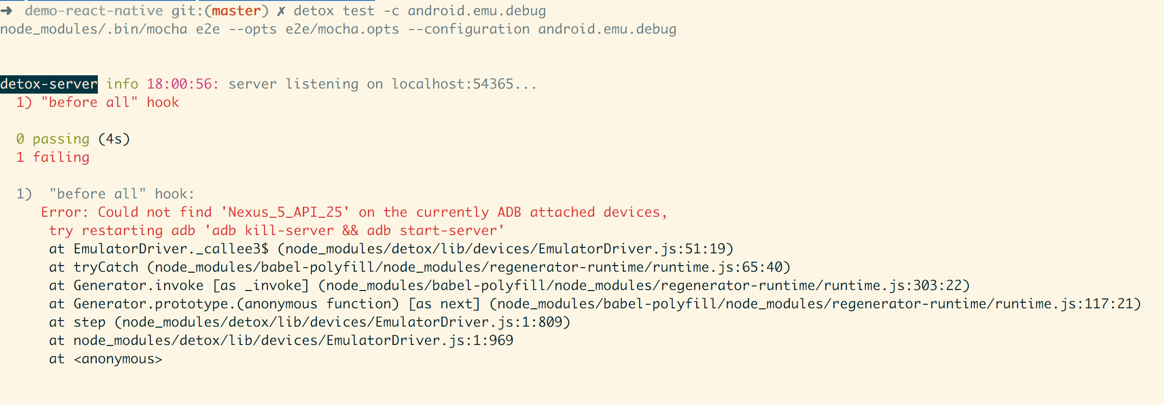 Error: Could not find 'Nexus_5_API_25' on the currently ADB attached