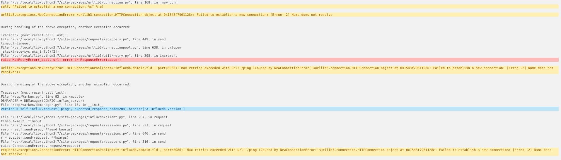 Can't connect to InfluxDB · Issue #110 · Boerderij/Varken
