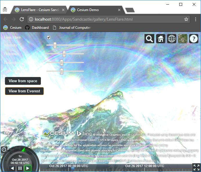 Lens Flare artifact · Issue #5932 · AnalyticalGraphicsInc/cesium