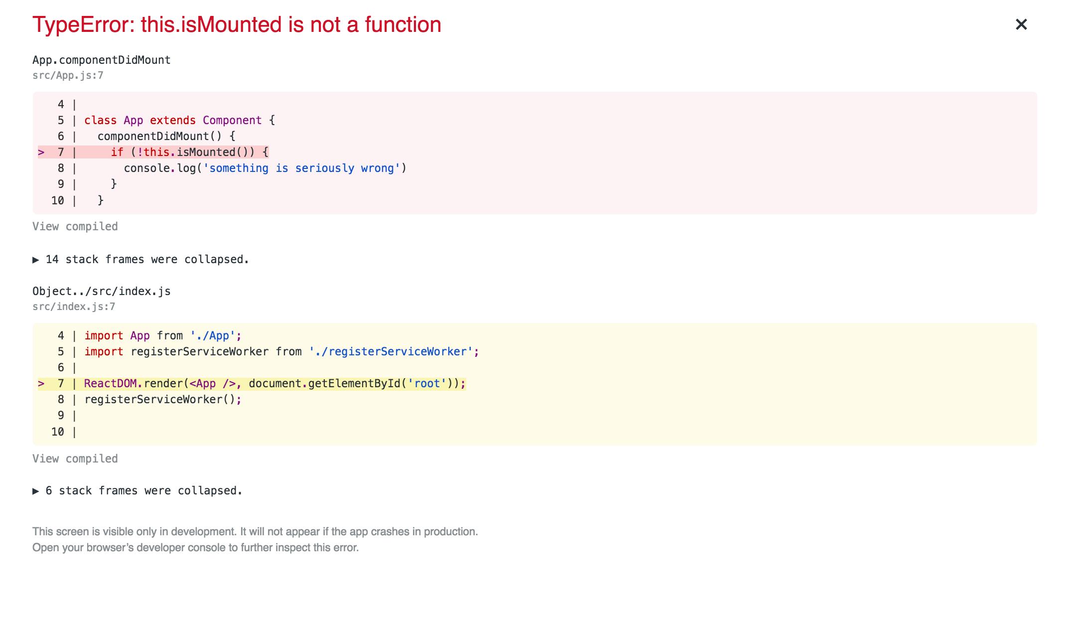 screenshot showing error overlay