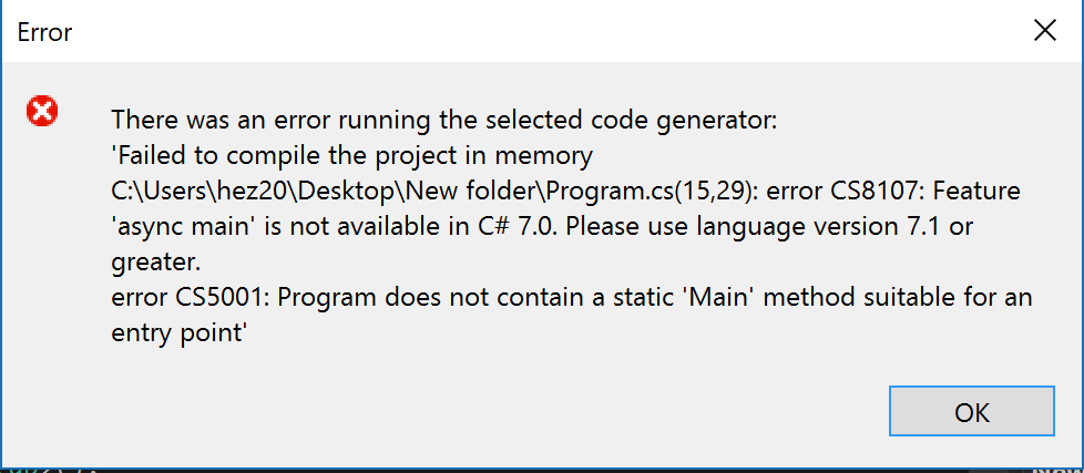 Scaffold-DbContext failed while using C# 7 0 above (exclude