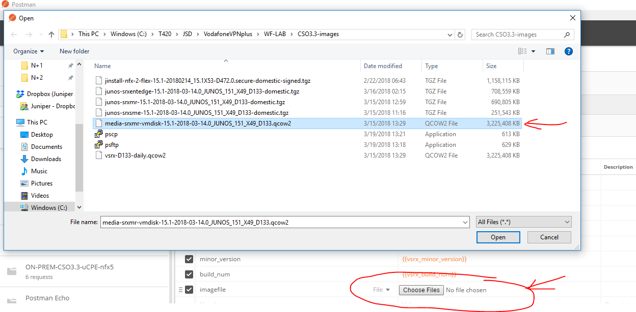 When selecting a large file for upload postman screen goes