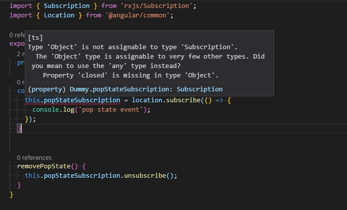 Location subscribe wrong typedefinition and documentation