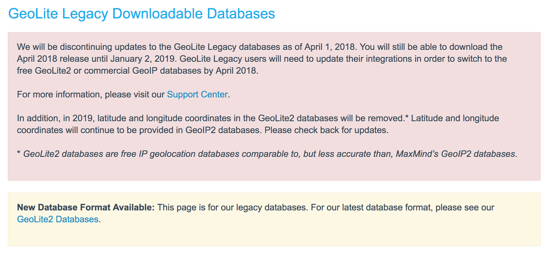 MaxMind GeoLite Legacy GeoIP databases discontinuation