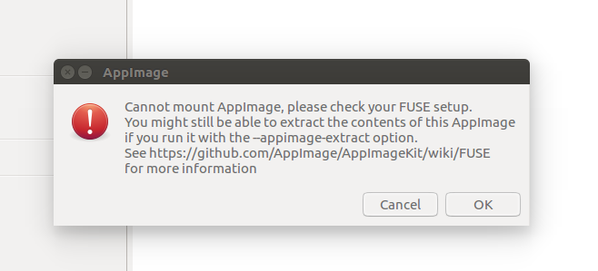 Resulting `AppImage` launches perfectly in Ubunti 18 04, but fails