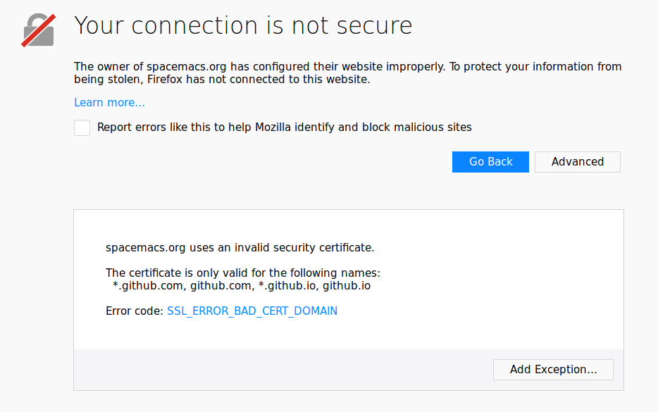 spacemacs org broken - wrong certificate · Issue #10159 · syl20bnr
