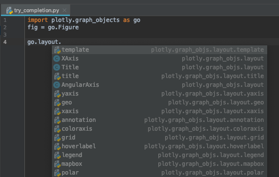 Autocomplete not working in Pycharm · Issue #1682 · plotly