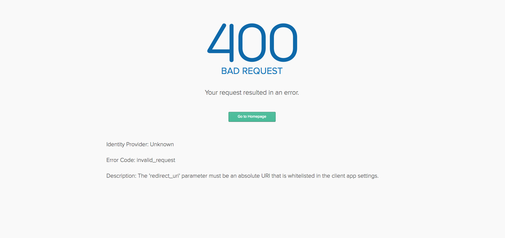 404 The 'redirect_uri' parameter must be an absolute URI