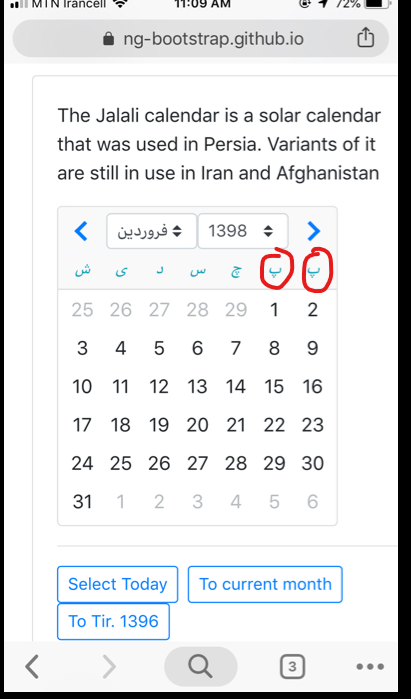 Persian calendar problem in the first week of every year · Issue